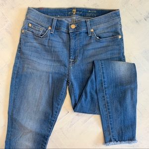 7 For All Mankind Ankle Skinny Raw Hem Jeans